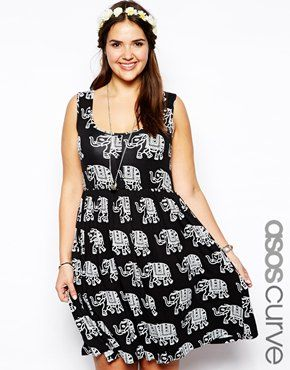 incredible prices coupon code great look Image 1 of ASOS CURVE Button Front Dress In Elephant Print ...