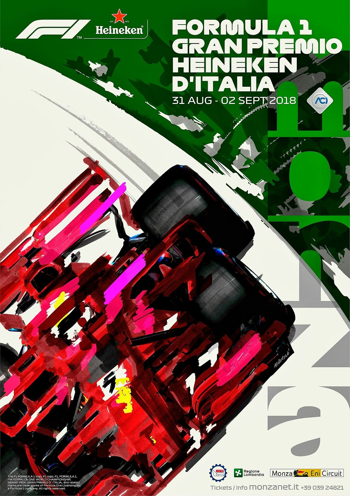 2018 Italian Gp Official Event Poster Features Sebastian Vettel S Ferrari Sf71h On The Old Monza Ba Grand Prix Posters Italian Grand Prix Vintage Racing Poster