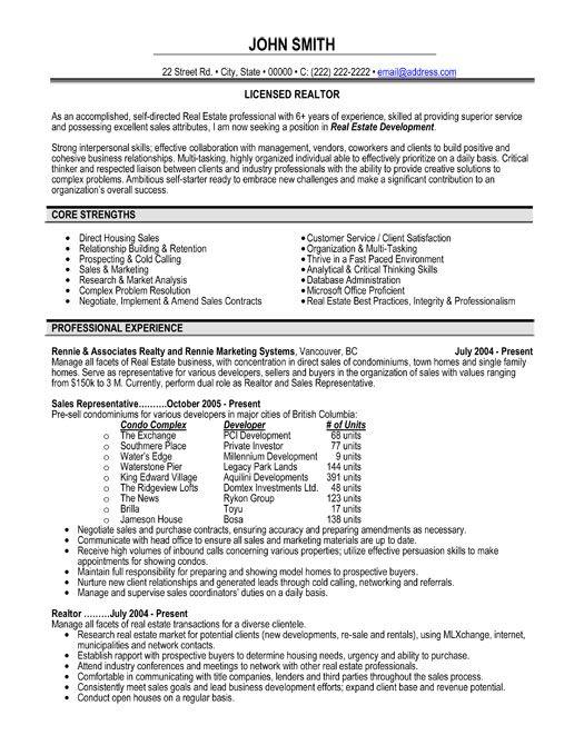 real estate sales representative resume sample