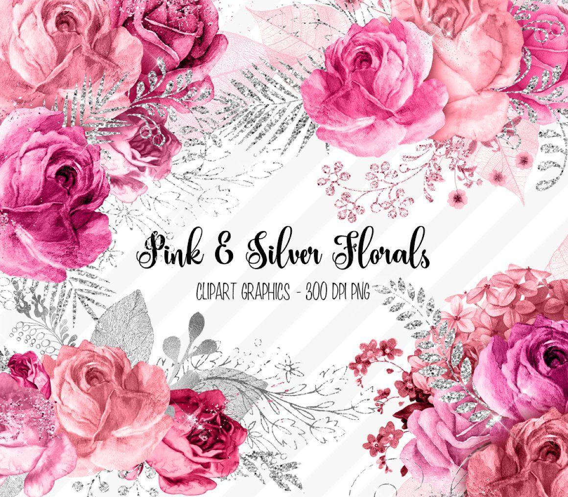 Pink And Silver Floral Clipart Pink And Silver Floral Pink And