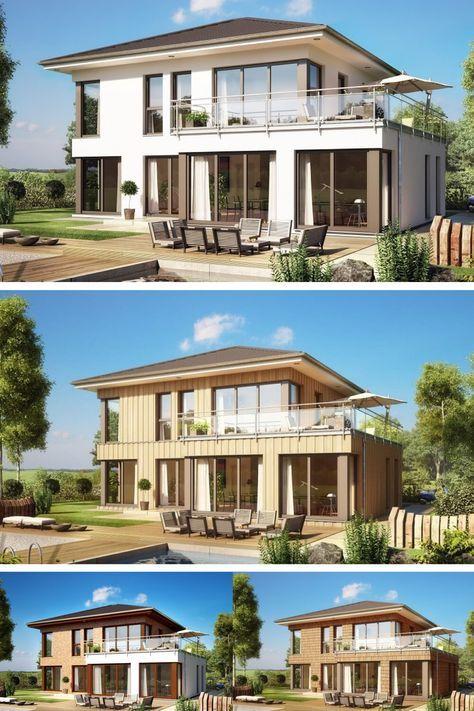 Moderne Stadtvilla Einfamilienhaus   Haus Evolution 154 V11 Bien Zenker    Fassade Variante Holz Putz Klinker