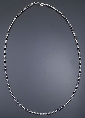 """Marilyn Platero Sterling Silver Navajo Pearl Necklace 4mm Plain & Flute 24"""""""