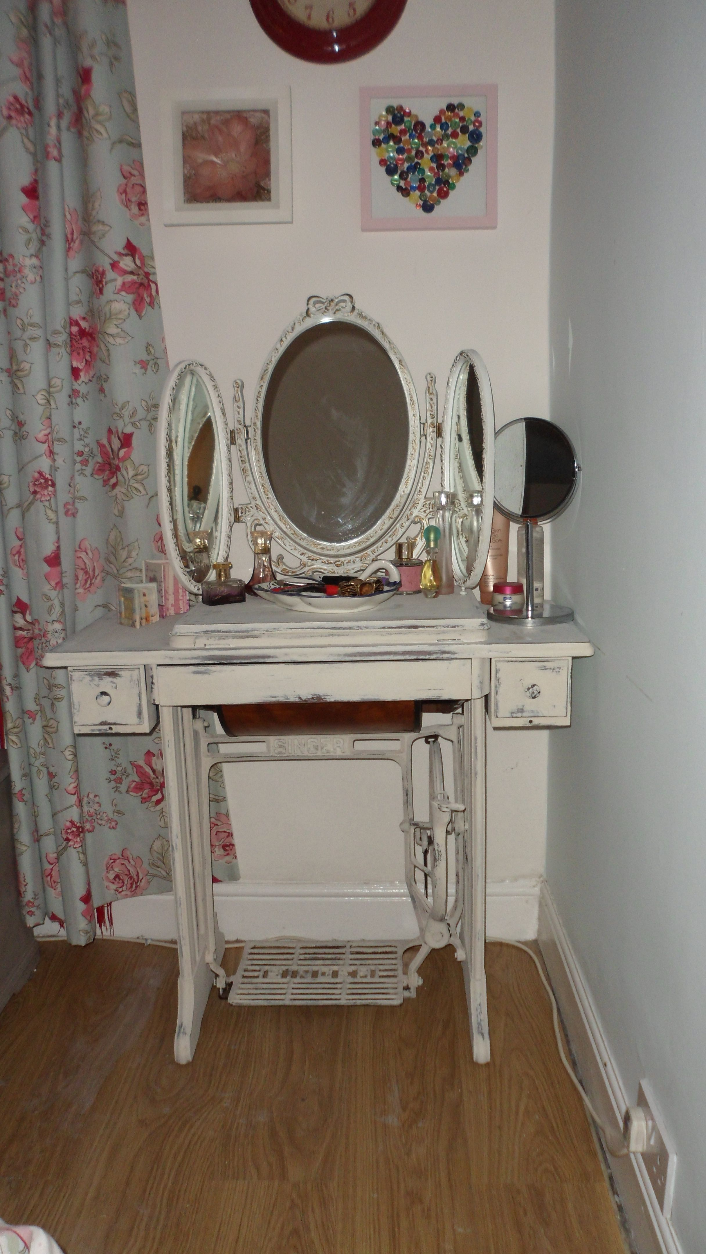 This Dressing Table Done From A Old Singer Sewing Machine