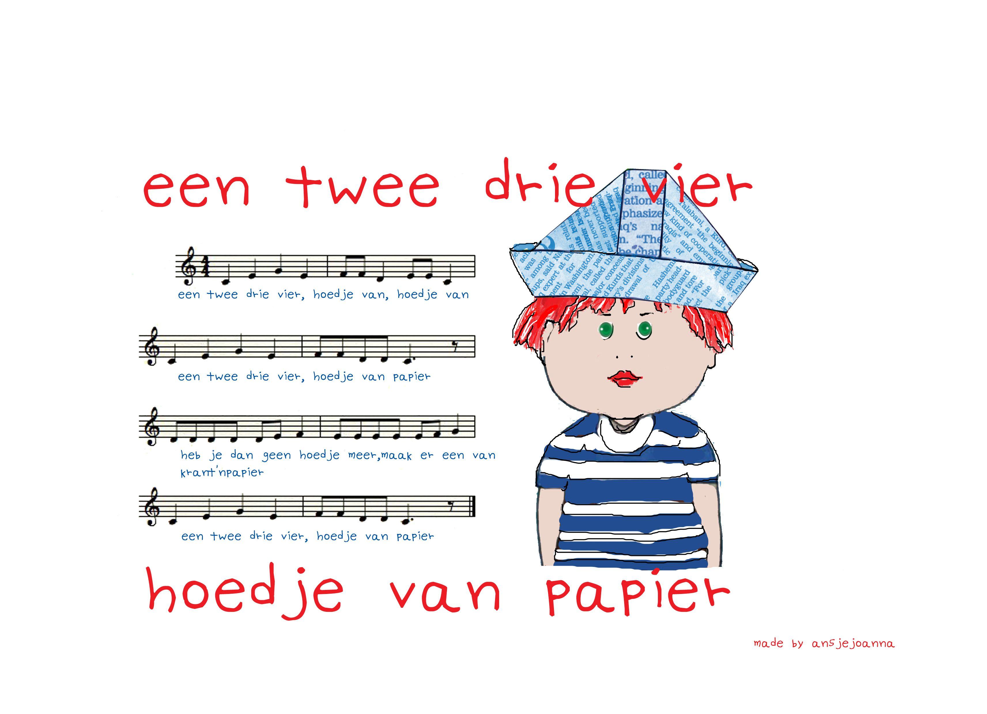 hoedje papier thema kinderliedjes hoeden