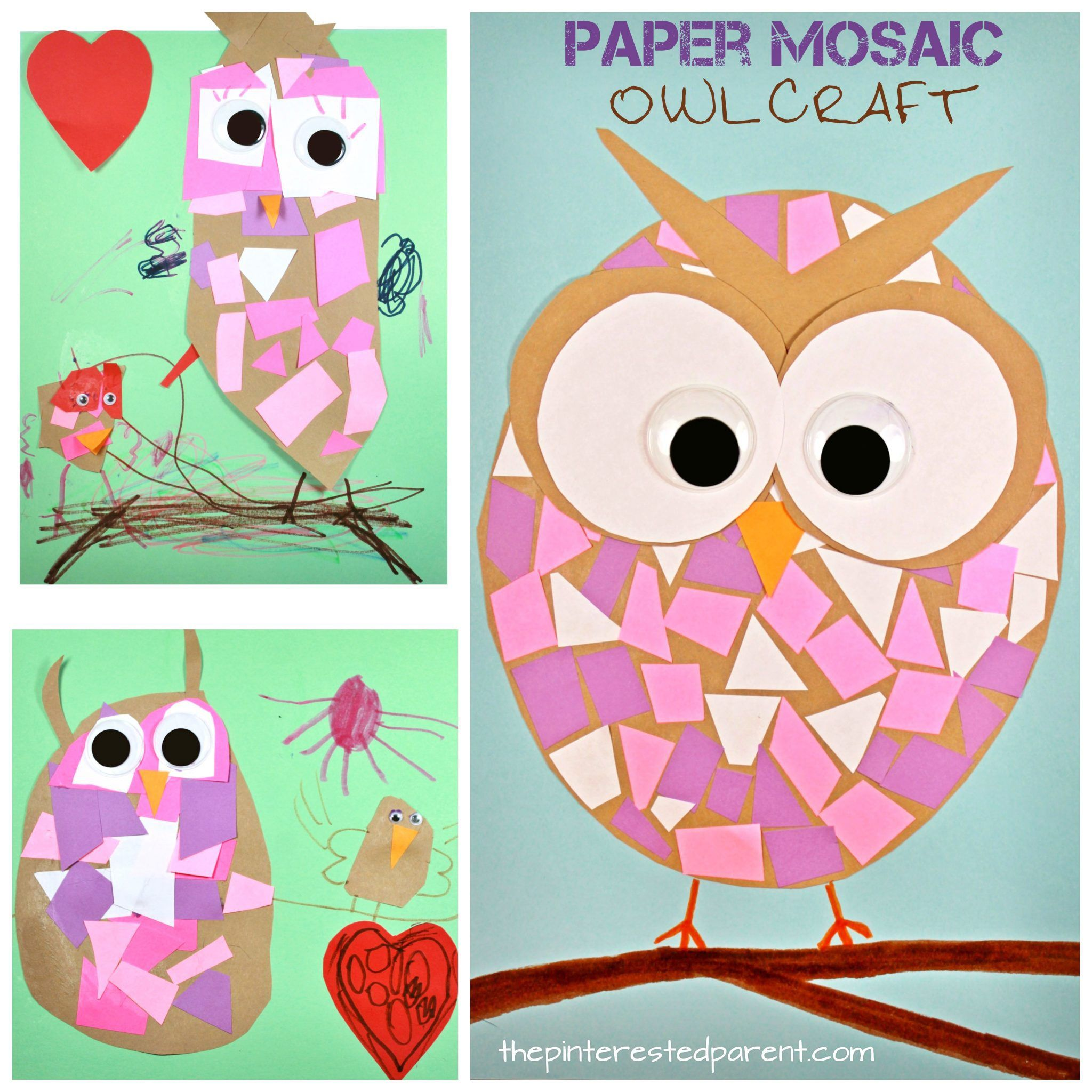 Construction Paper Mosaic Owl Craft