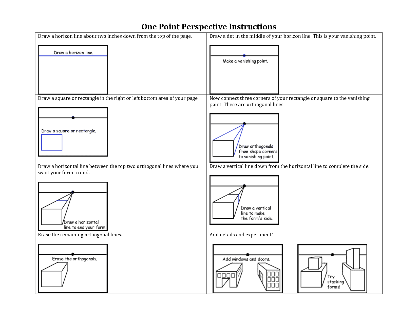 Worksheets One Point Perspective Worksheet one point perspective instructions drawing pinterest onepoint worksheets bing images