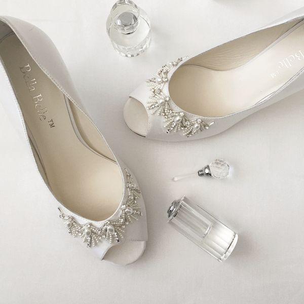pearls and rhinestone in a signature Art Deco fan pattern wedding shoes