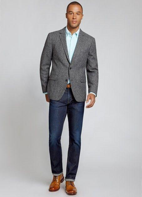 Men\'s Grey Wool Blazer, Light Blue Dress Shirt, Navy Jeans, Brown ...
