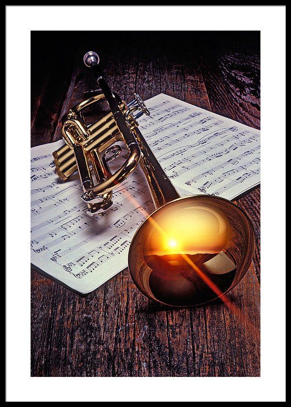 Trumpet with sunset Framed Print by Garry Gay