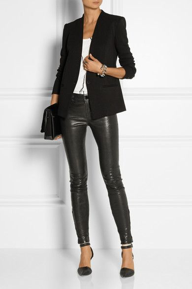 Black stretch-twill Button fastening at front 92% viscose, 8% spandex; lining: 94% polyester, 6% spandex Dry clean