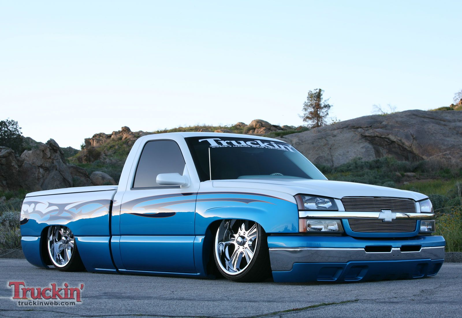 2003 blue low rider chevrolet silverado truck