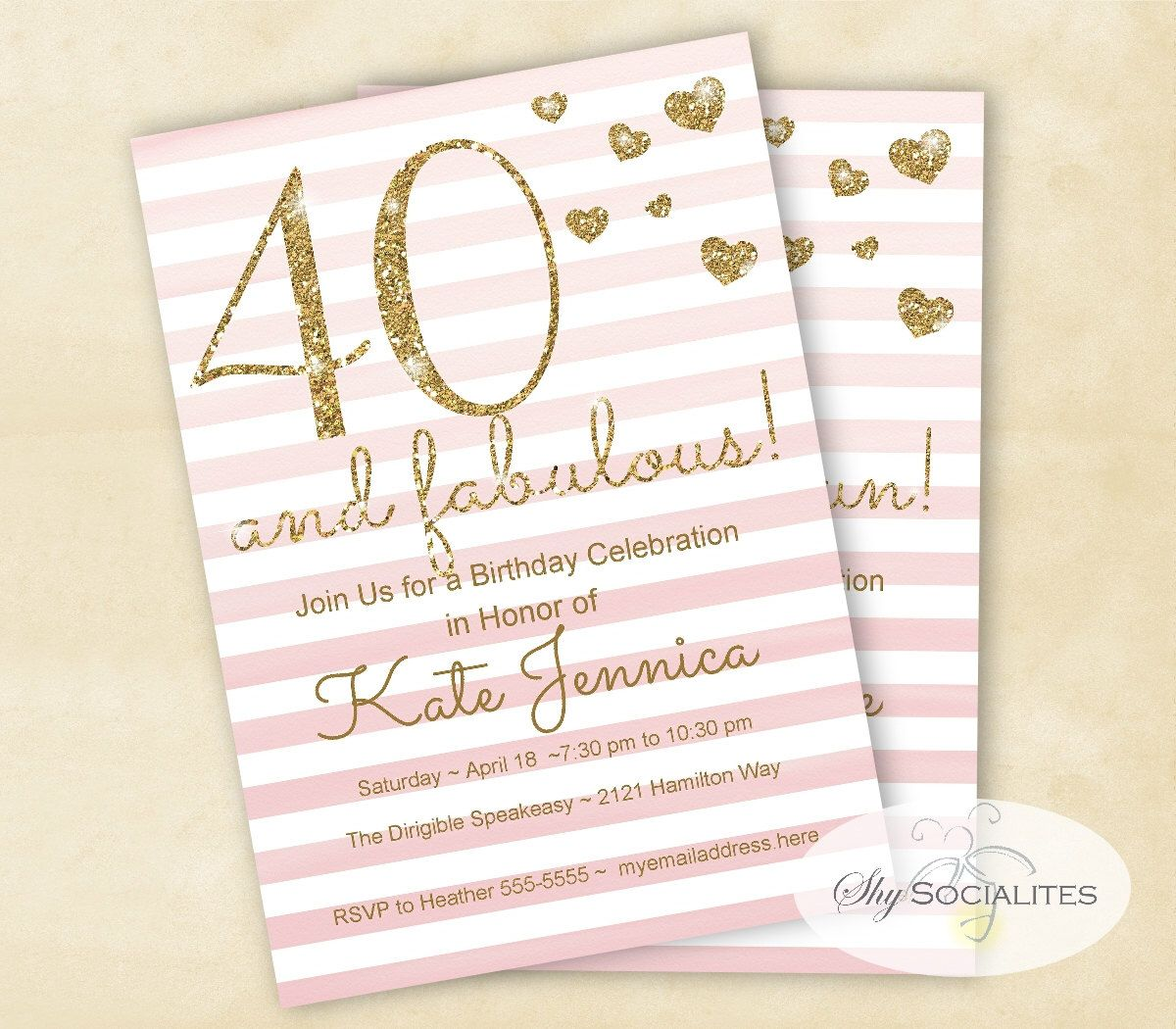 40th Birthday Invitation | Girls Night | Pink Watercolor Ombre ...