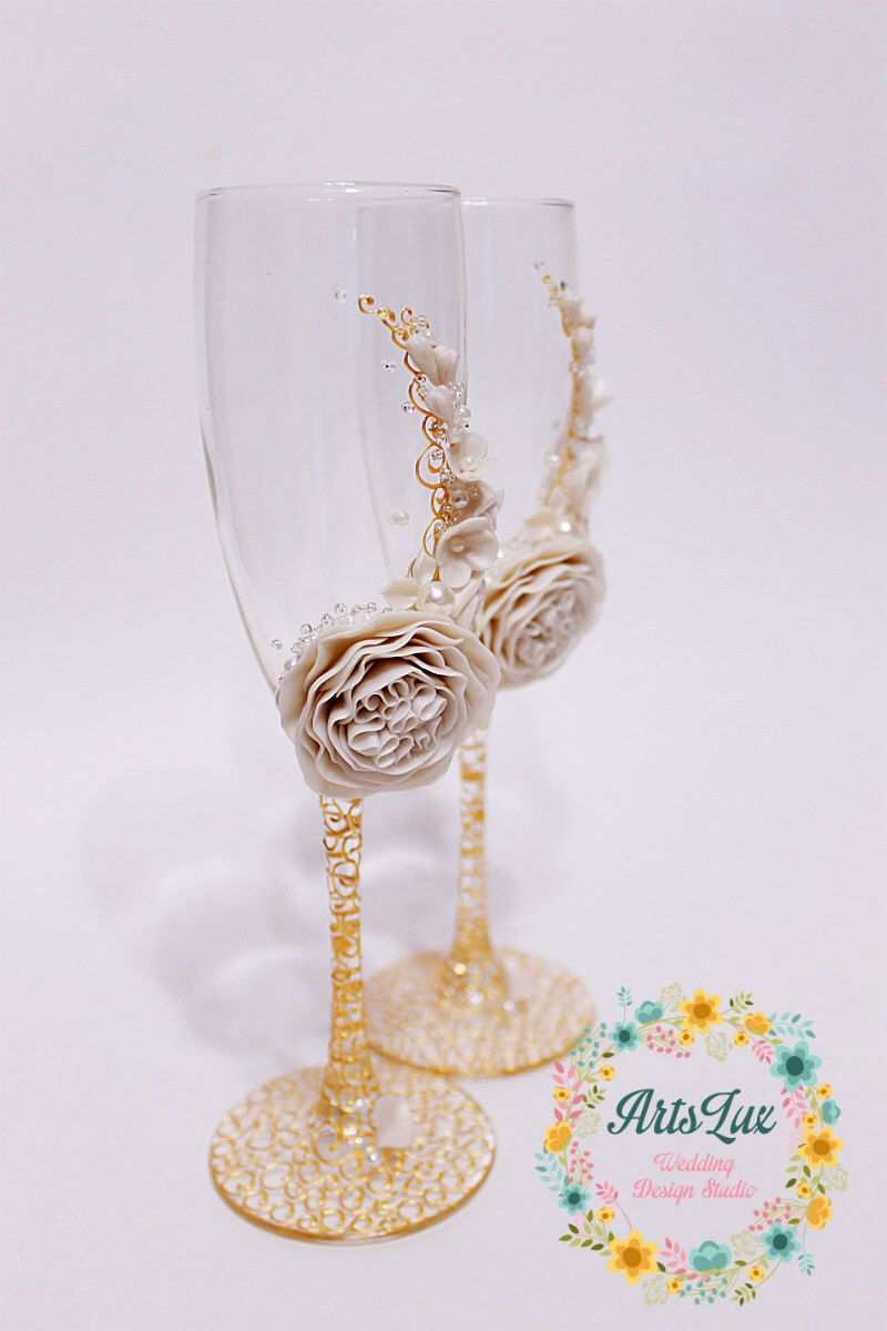 Wedding champagne glasses with beautiful flower in Ivory&Gold ...