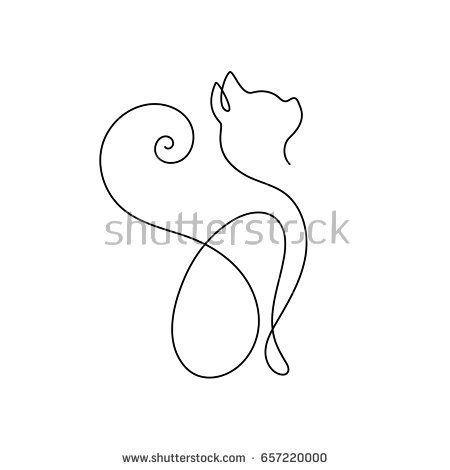 One Line Cat Design Silhouette Hand Drawn Minimalism Style Vector Illustration Cattattoo Cat Tattoo Cat Design Diy Tattoo