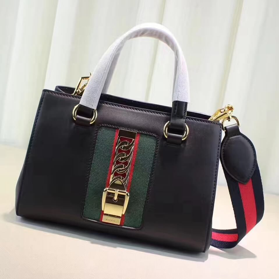 73c84089706d Gucci Sylvie Leather Small Top Handle Bag 460381 Black 2017 | Gucci ...