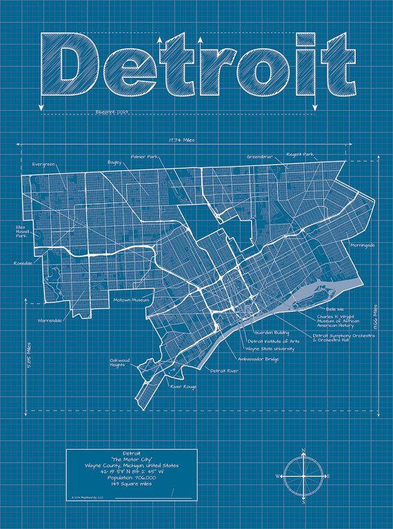 Detroit map original artwork detroit blueprint wall art city detroit map original artwork detroit blueprint wall art malvernweather Choice Image