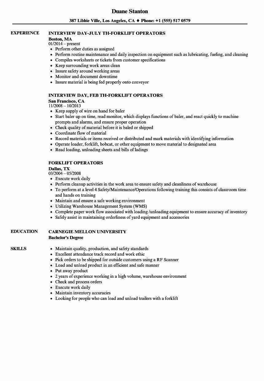 Certified forklift operator resume awesome forklift