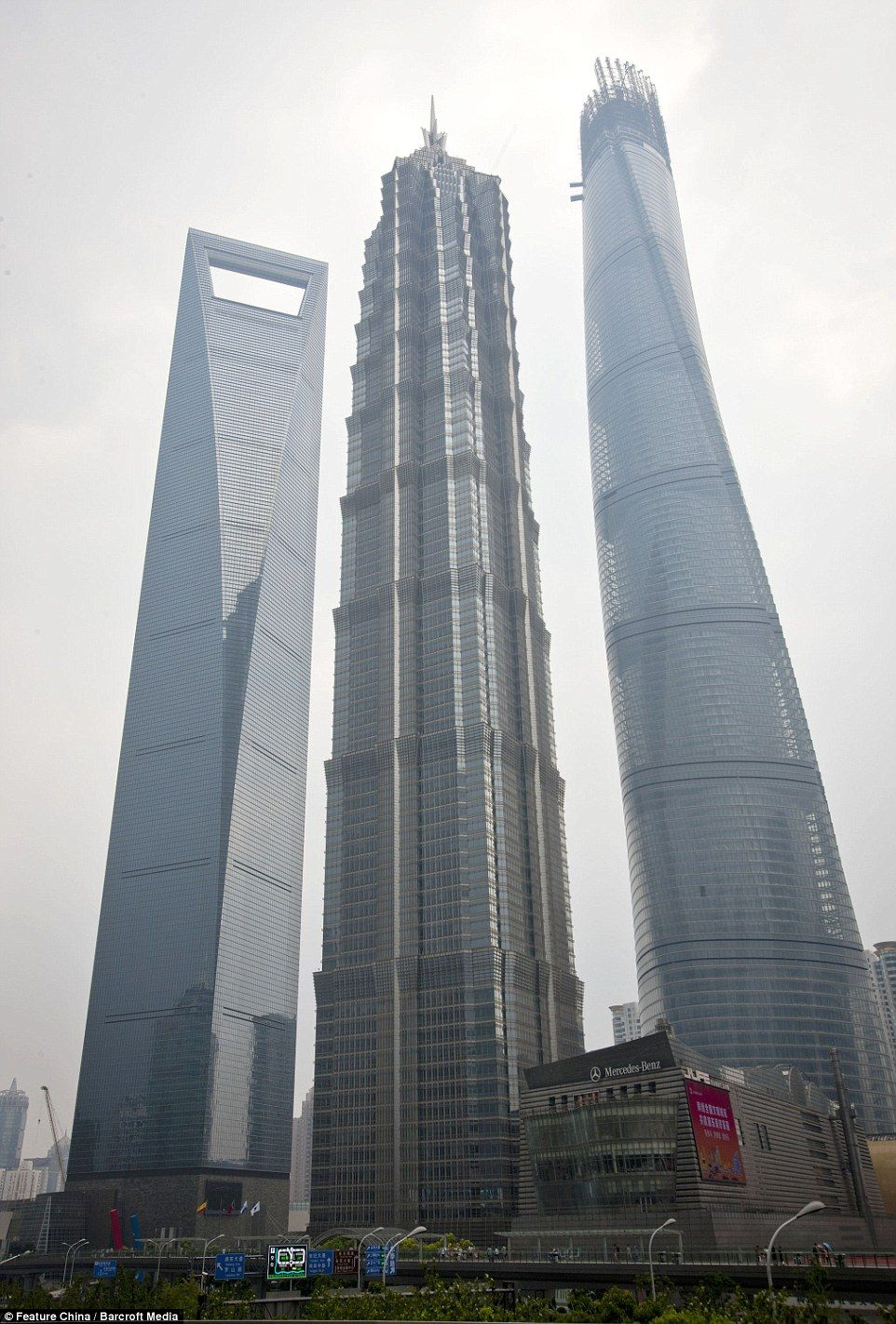 Three Sisters From Right The 1212fttall Shanghai Simple China Tallest Building Shanghai Tower Gets Final Beam