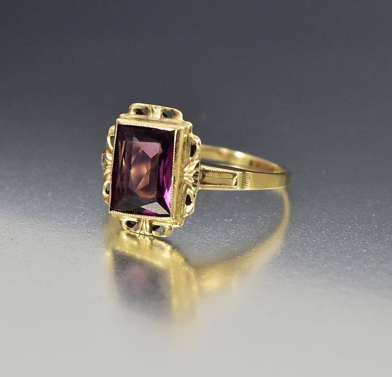 Vintage Art Deco Amethyst 10k Gold Ring Amethyst Deco Simple Art Intage Ring Vintage Gol Vintage Jewelry 1920 Antique Jewellery Online Antique Jewelry