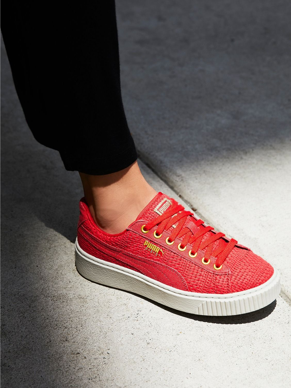 6d5a8c637c5f Puma Basket Platform Woven Sneaker at Free People Clothing Boutique