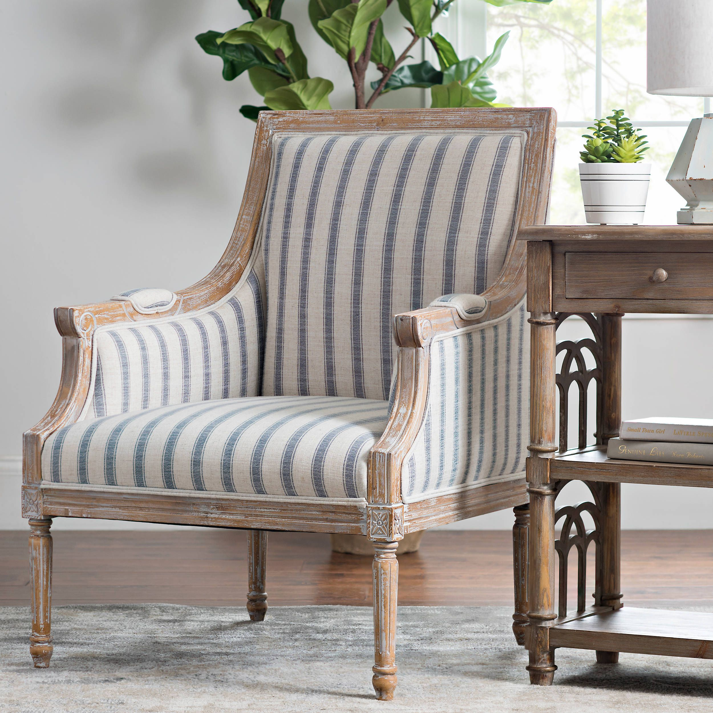 Mckenna Blue Striped Accent Chair Kirklands Blue Accent Chairs Stripe Accent Chair Accent Chairs For Living Room