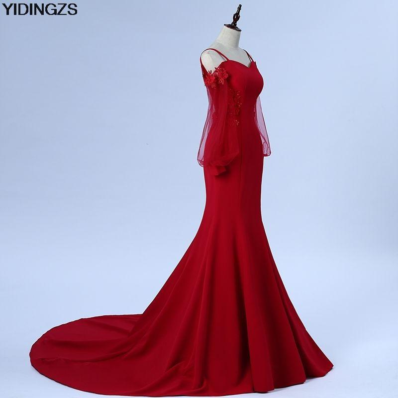 YIDINGZS Appliques Beaded Robe De Soiree Mermaid Wine Red Long Evening Dress  Backless Party Vestido De 3f3121cfc747