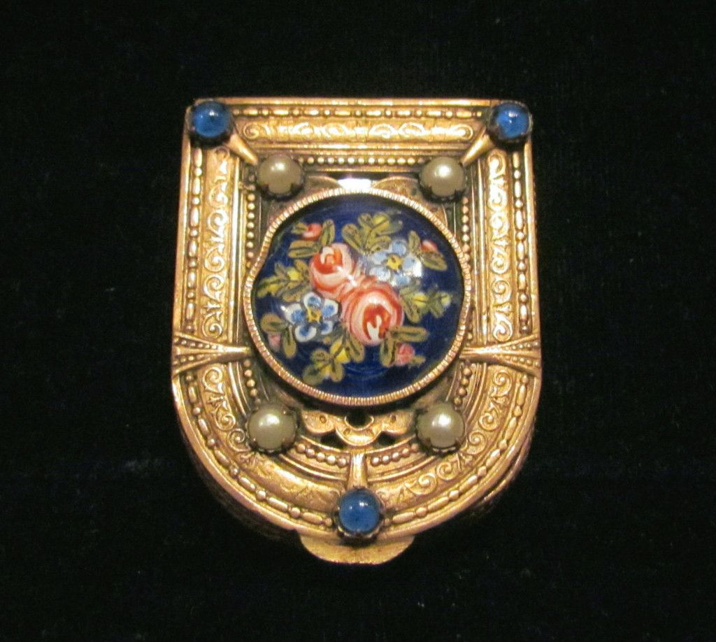 French Gold Filigree Compact Guilloche Enamel White Pearls