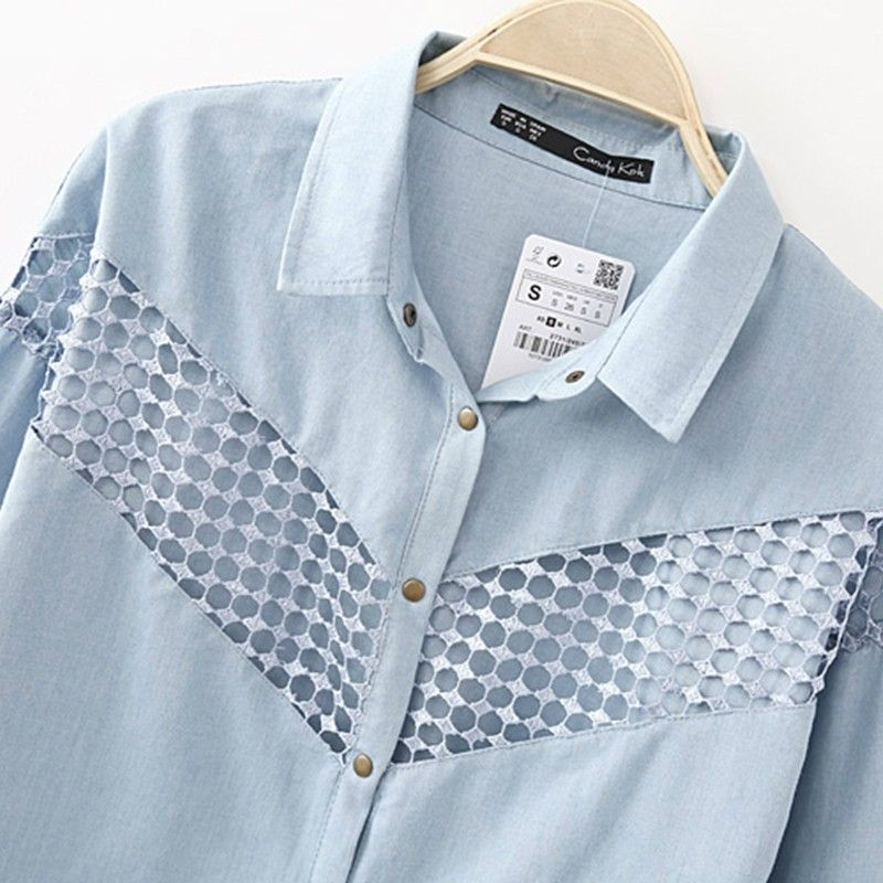 I love the lace in middle. So elegantly ties together two trends denim and lace!