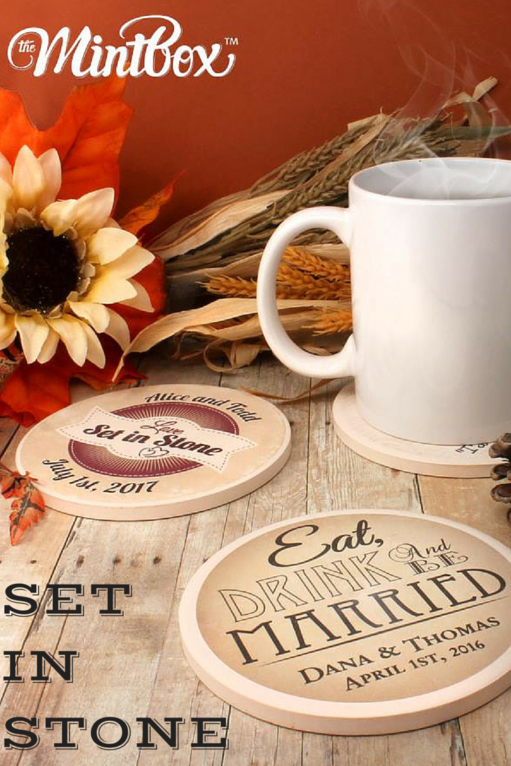Love Set in Stone | Eat, Drink and Be Married Personalized Stone Coaster Set | Great Wedding Gift Idea