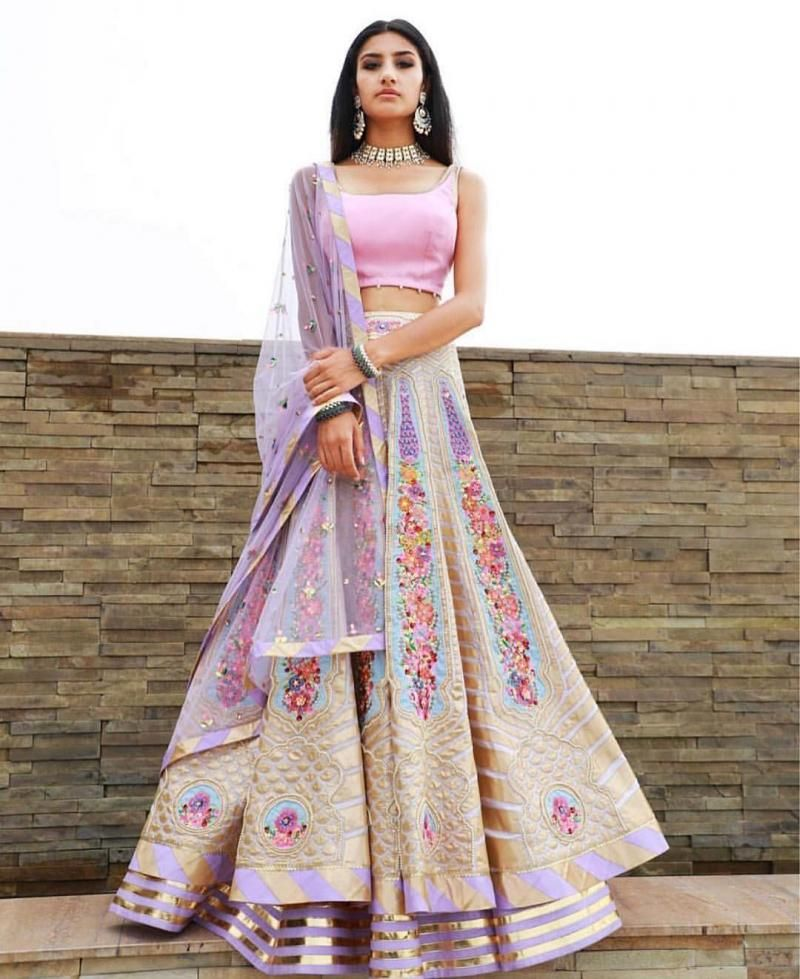 f260b581aaa Pastel  floral  lehenga for a sangeet or pre  wedding event
