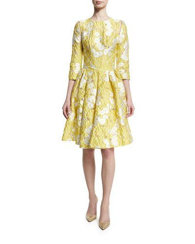 TGWN4 Zac Posen Floral 3 4-Sleeve Fit- -Flare Dress 40dfa3eaf