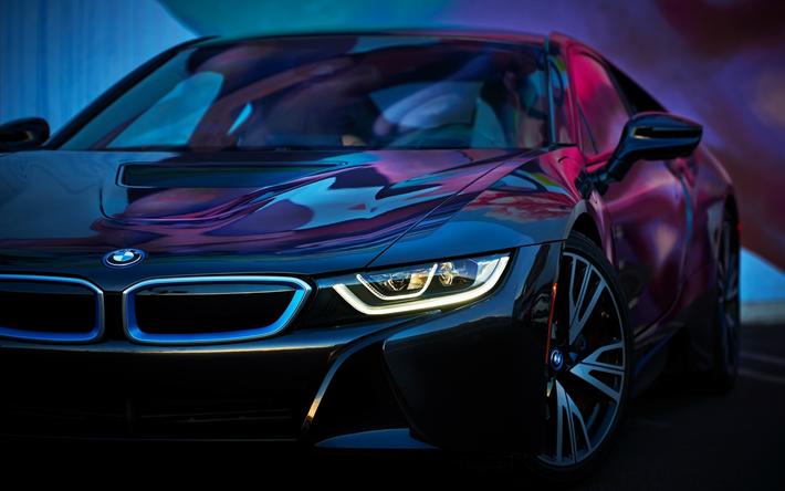 Hämta bilder BMW i8, tyska bilar, Bilar 2018, supercars, nya i8, BMW
