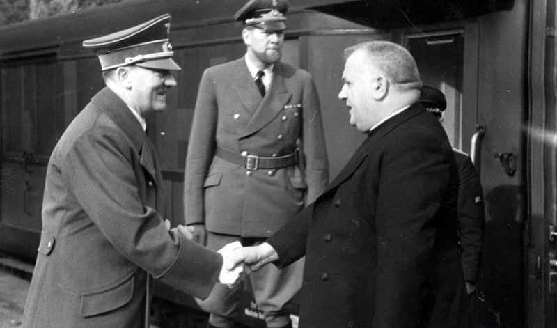 July 28, 1940 Germany   President Jozef Tiso and Prime Minister Vojtech Tuka of the Slovak Republic met with Hitler and Ribbentrop at Berchtesgarden.