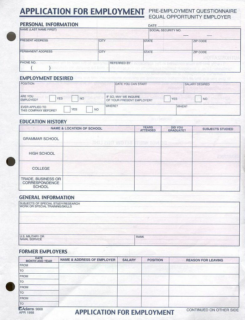 generic job application form pdf