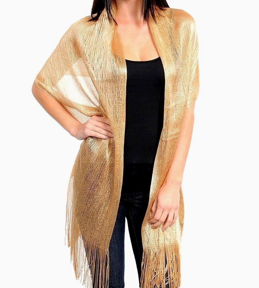Gold Metallic Shawl Evening Wrap Party Scarf