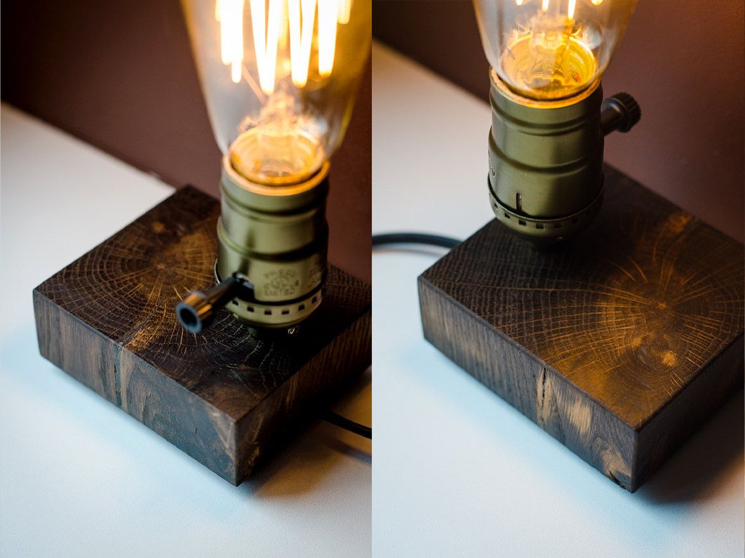 Edison Lamp Xs75 Handmade Wooden Lamp Wood Lamp Table Lamp Desk