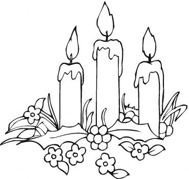 Printable Flowers | Candles And Flowers coloring page | Super Coloring