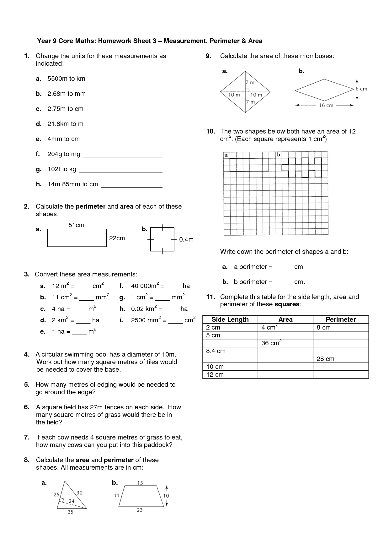 Year 6 homework sheets