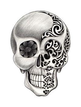 tatouage tete de mort tatouage de cr ne dessin la main sur papier banque d id es. Black Bedroom Furniture Sets. Home Design Ideas