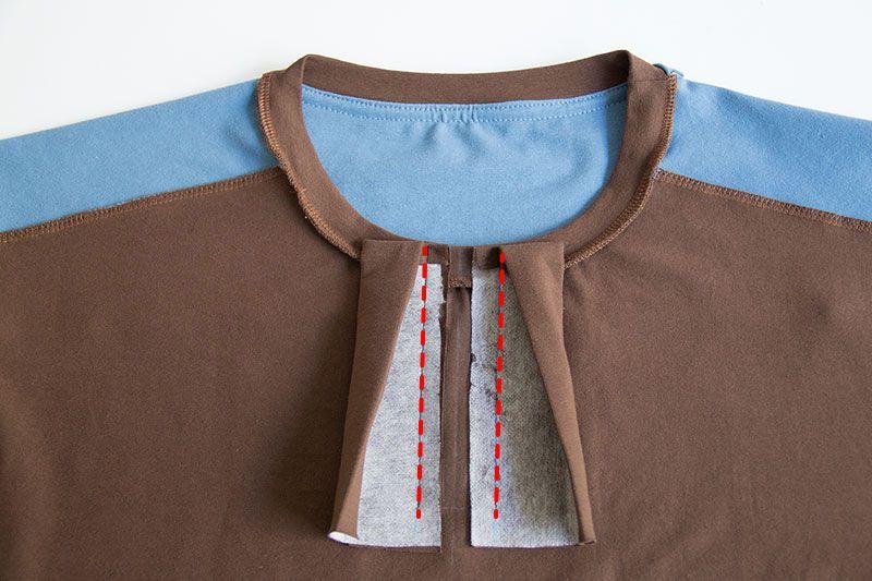 wie n he ich eine knopfleiste in ein t shirt n hideen pinterest leisten ausschnitt und n hen. Black Bedroom Furniture Sets. Home Design Ideas