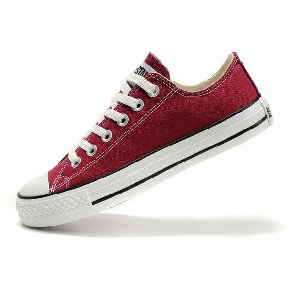 360d0cc2ec62 Converse Chuck Taylor All Star Maroon Low Top Canvas Shoes ❤ liked on Polyvore  featuring shoes