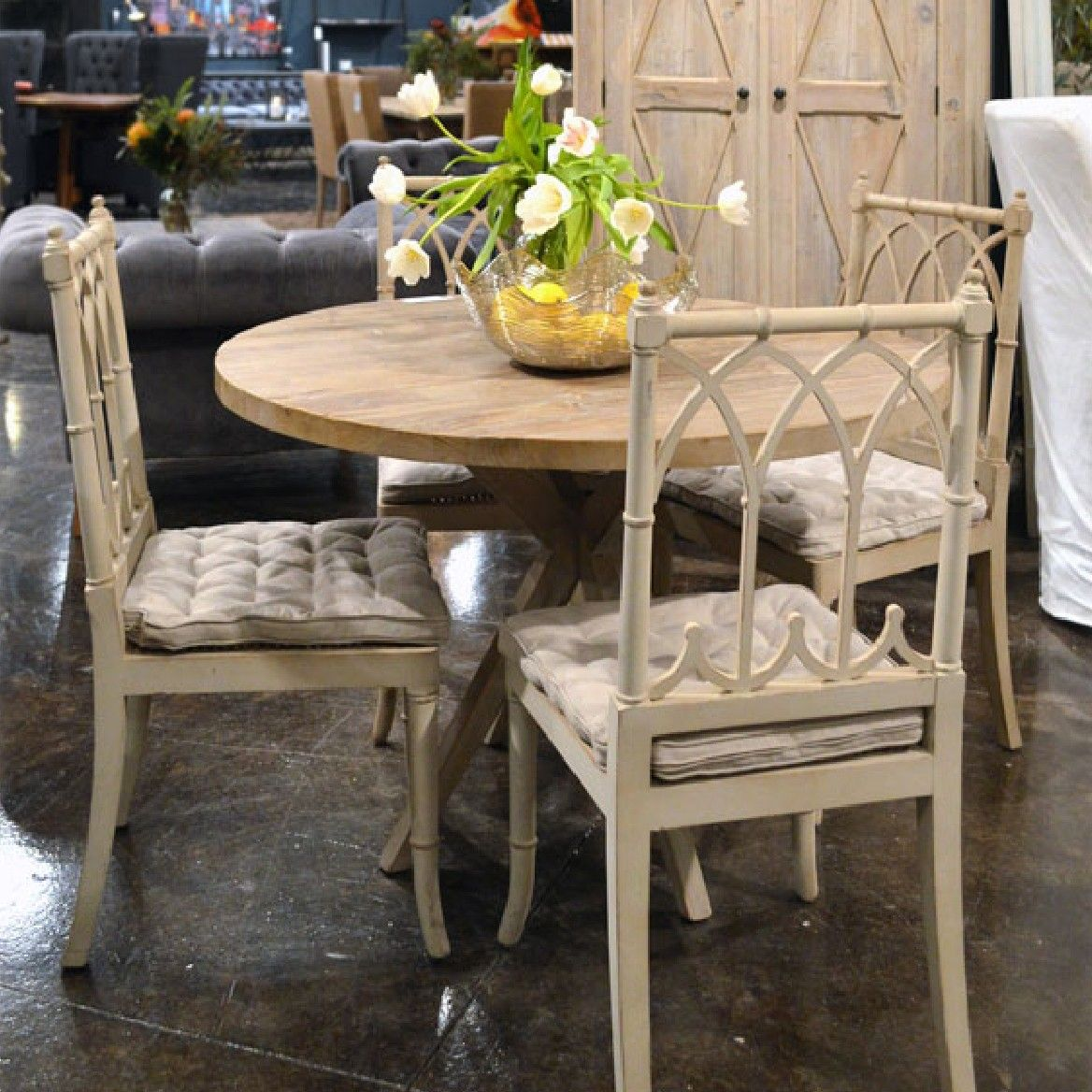 Jarvis Dining Chair Are Made Of Birch Wood Frame With Distressed Cream Paint