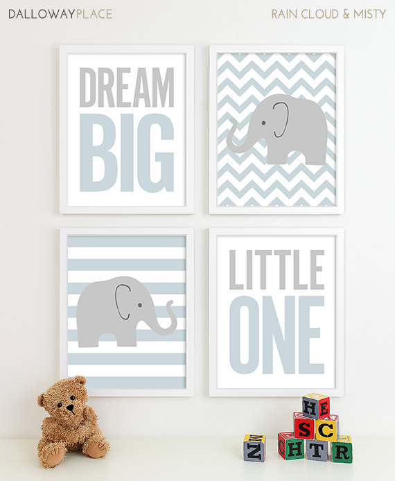 Baby Boy Nursery Art Chevron Elephant Decor By Dallowayplacekids