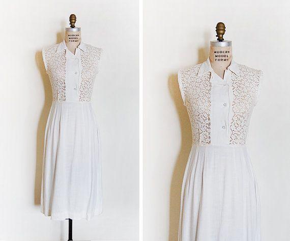 vintage 1960s dress / cotton lace dress / 1960s lace by cutxpaste, $54.00