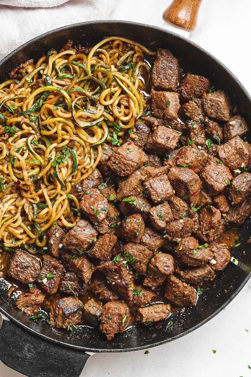 Garlic Butter Steak Bites with Lemon Zucchini Noodles