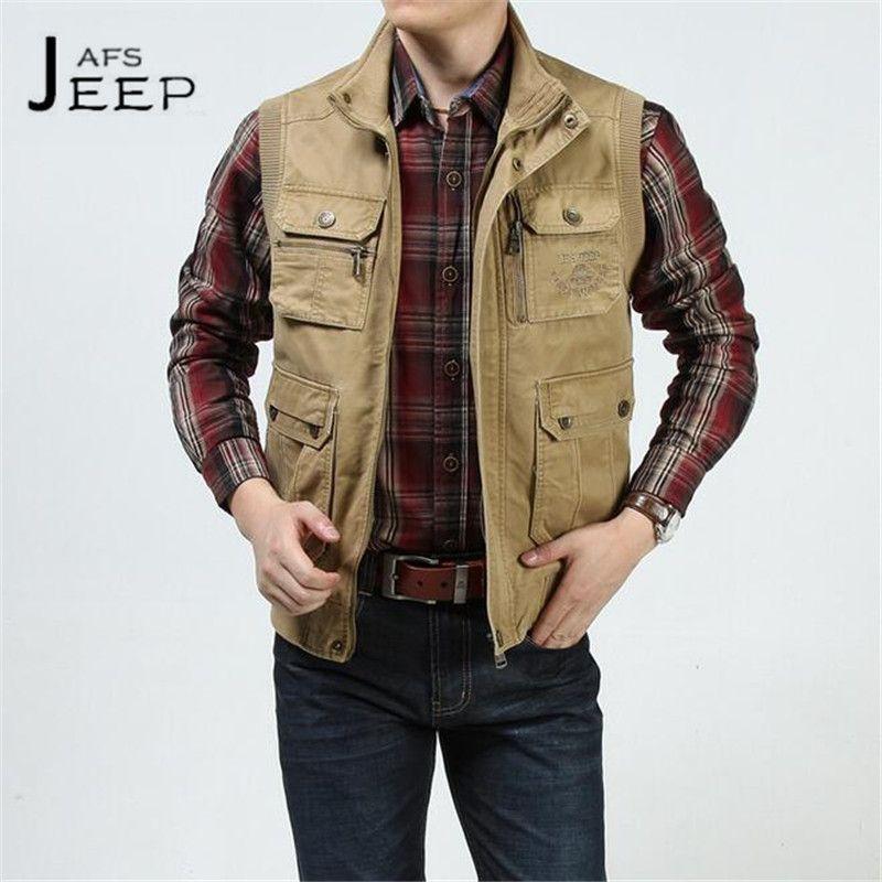 AFS JEEP 2017 Summer Men's Vest,100% Cotton Solid Cargo