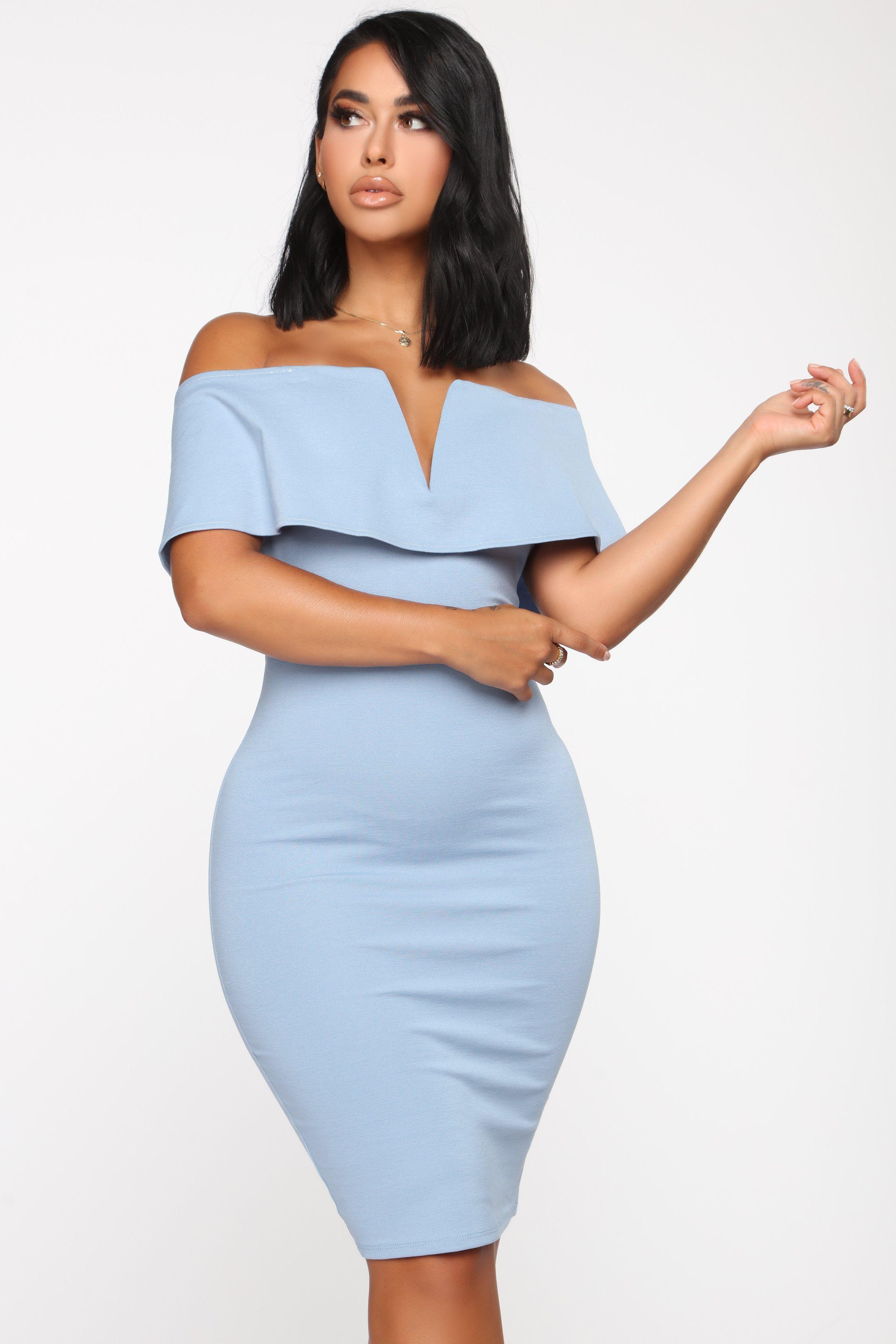 Lyla Off Shoulder Dress Blue in 2020 Dresses for