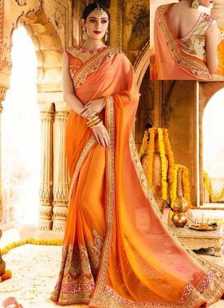 80bdfca14c Orange Embroidery Work Silk Designer Fancy Wedding Half Sarees  http://www.angelnx