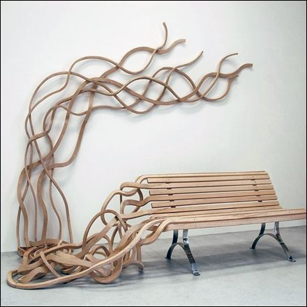 Organic Wood Bench Springs to Life