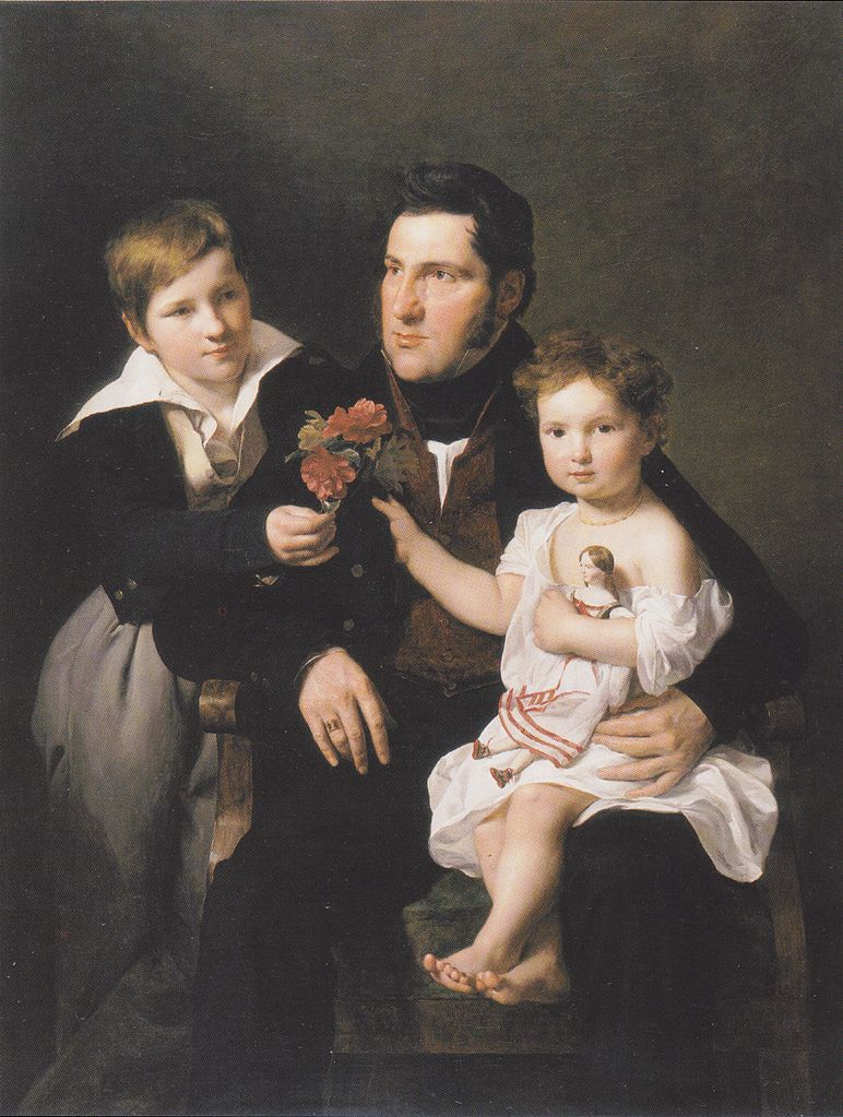 Ferdinand Georg Waldmüller (1793-1865) — Johann Feldmüller with His Two Children,1834  :Museum Georg Schäfer,  Schweinfurt.  Germany   (772×1023)